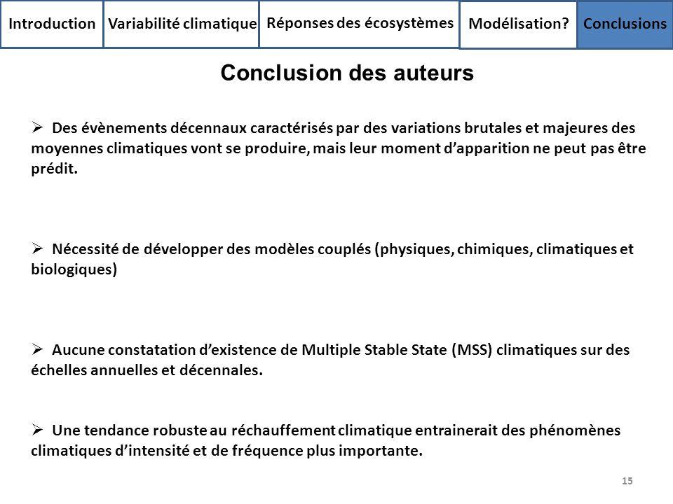 15 Introduction Variabilité climatique Réponses des écosystèmes Modélisation? Conclusions Des évènements décennaux caractérisés par des variations bru