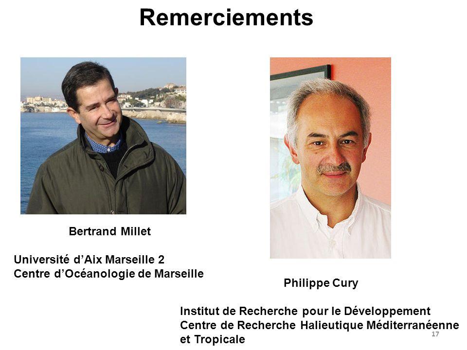 17 Remerciements Bertrand Millet Université dAix Marseille 2 Centre dOcéanologie de Marseille Philippe Cury Institut de Recherche pour le Développemen