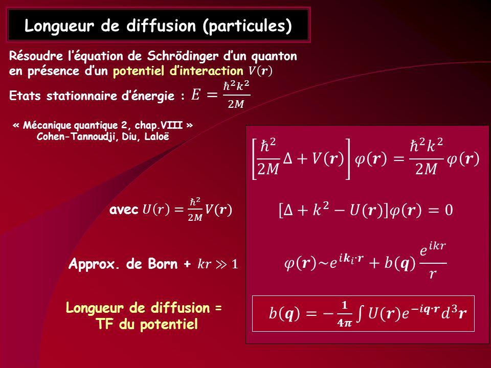 Longueur de diffusion (particules) Longueur de diffusion = TF du potentiel « Mécanique quantique 2, chap.VIII » Cohen-Tannoudji, Diu, Laloë