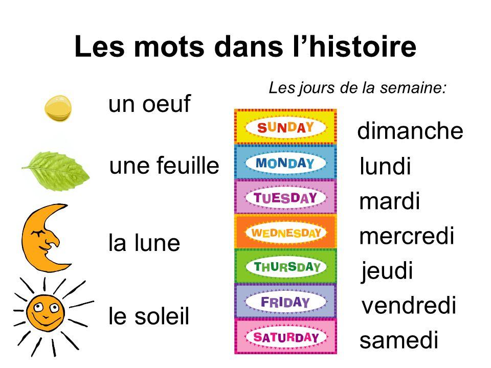Les mots dans lhistoire un oeuf une feuille la lune le soleil dimanche lundi mardi mercredi jeudi vendredi samedi Les jours de la semaine: