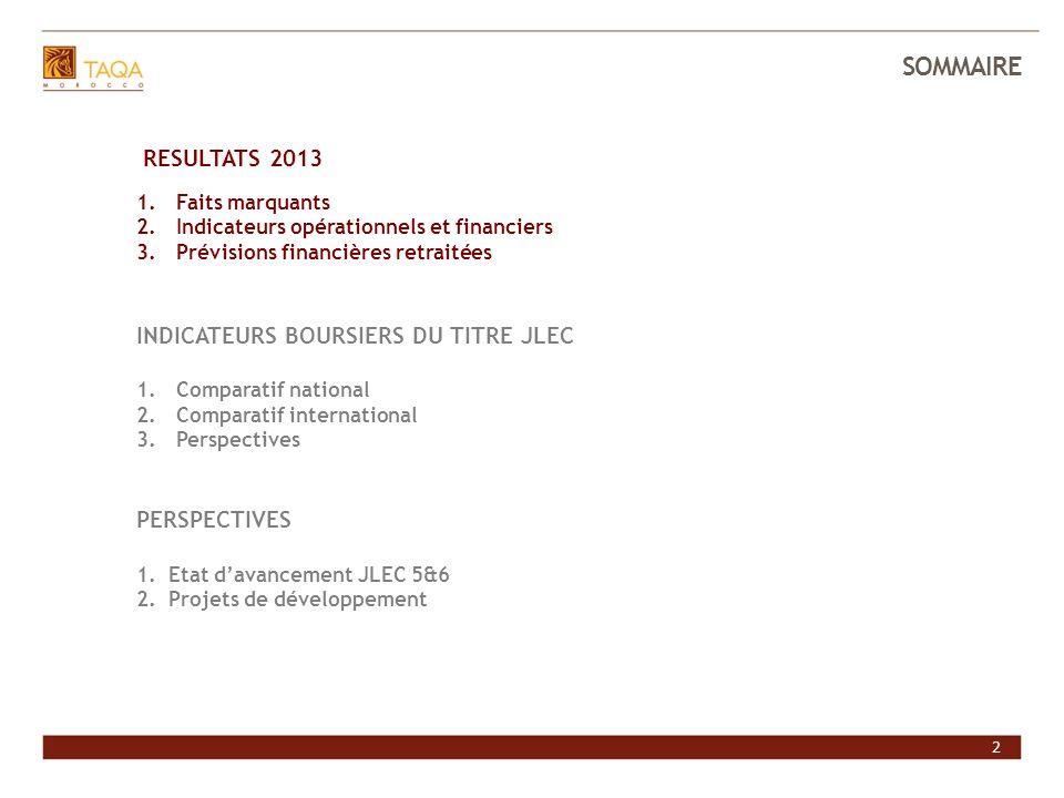 2 SOMMAIRE INVESTIR DANS JLEC RESULTATS 2013 1.Faits marquants 2.Indicateurs opérationnels et financiers 3.Prévisions financières retraitées INDICATEU