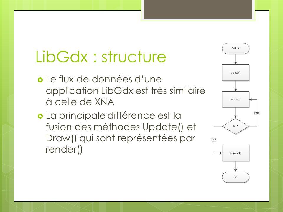 LibGdx : structure Le flux de données dune application LibGdx est très similaire à celle de XNA La principale différence est la fusion des méthodes Update() et Draw() qui sont représentées par render()