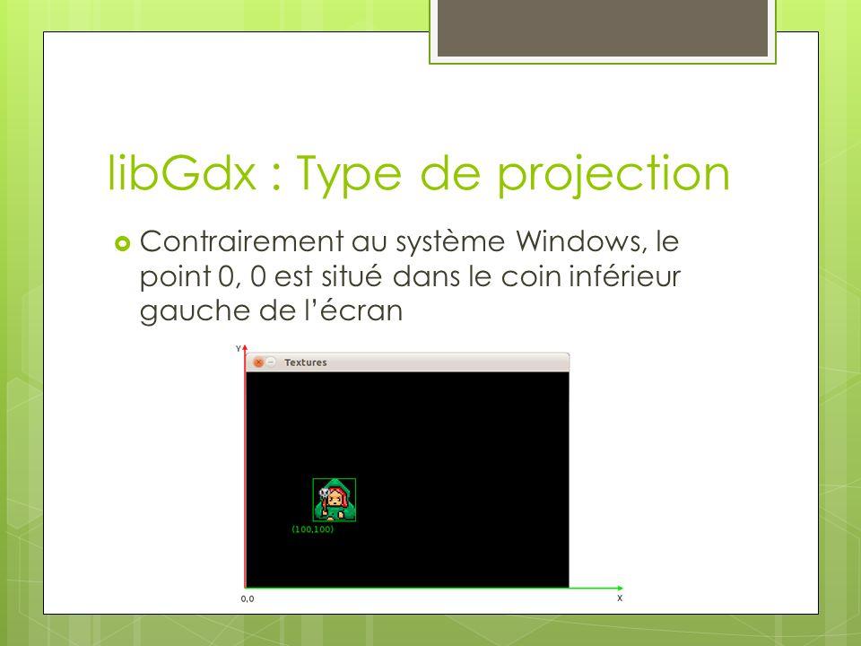 libGdx : Type de projection Contrairement au système Windows, le point 0, 0 est situé dans le coin inférieur gauche de lécran