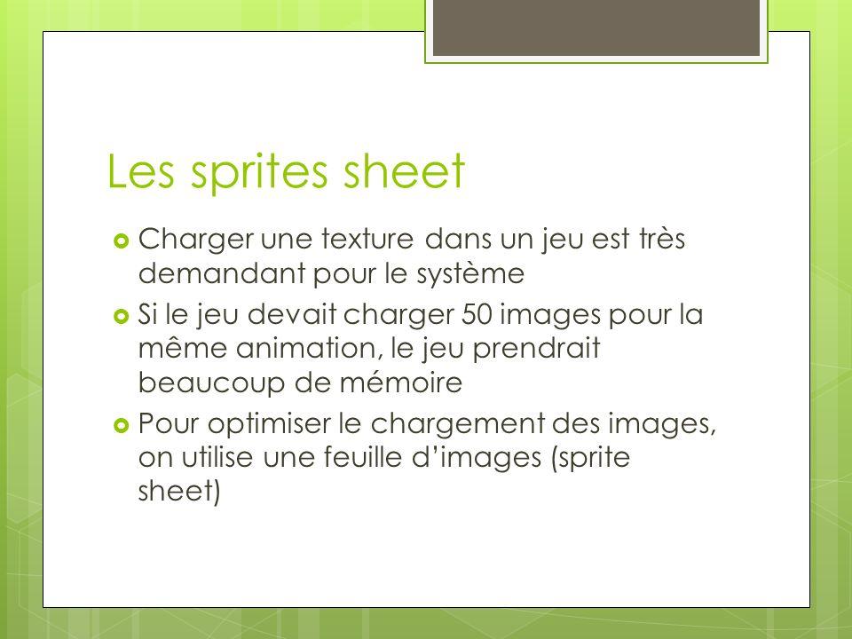 Les sprites sheet Charger une texture dans un jeu est très demandant pour le système Si le jeu devait charger 50 images pour la même animation, le jeu prendrait beaucoup de mémoire Pour optimiser le chargement des images, on utilise une feuille dimages (sprite sheet)