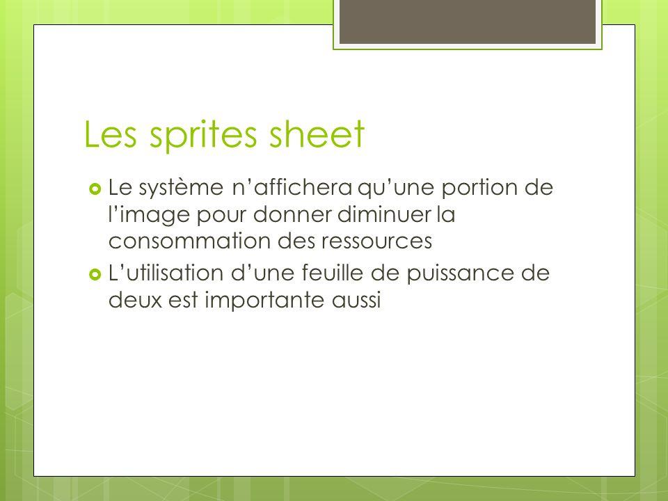 Les sprites sheet Le système naffichera quune portion de limage pour donner diminuer la consommation des ressources Lutilisation dune feuille de puissance de deux est importante aussi