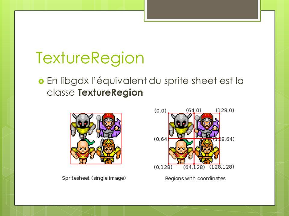 TextureRegion En libgdx léquivalent du sprite sheet est la classe TextureRegion