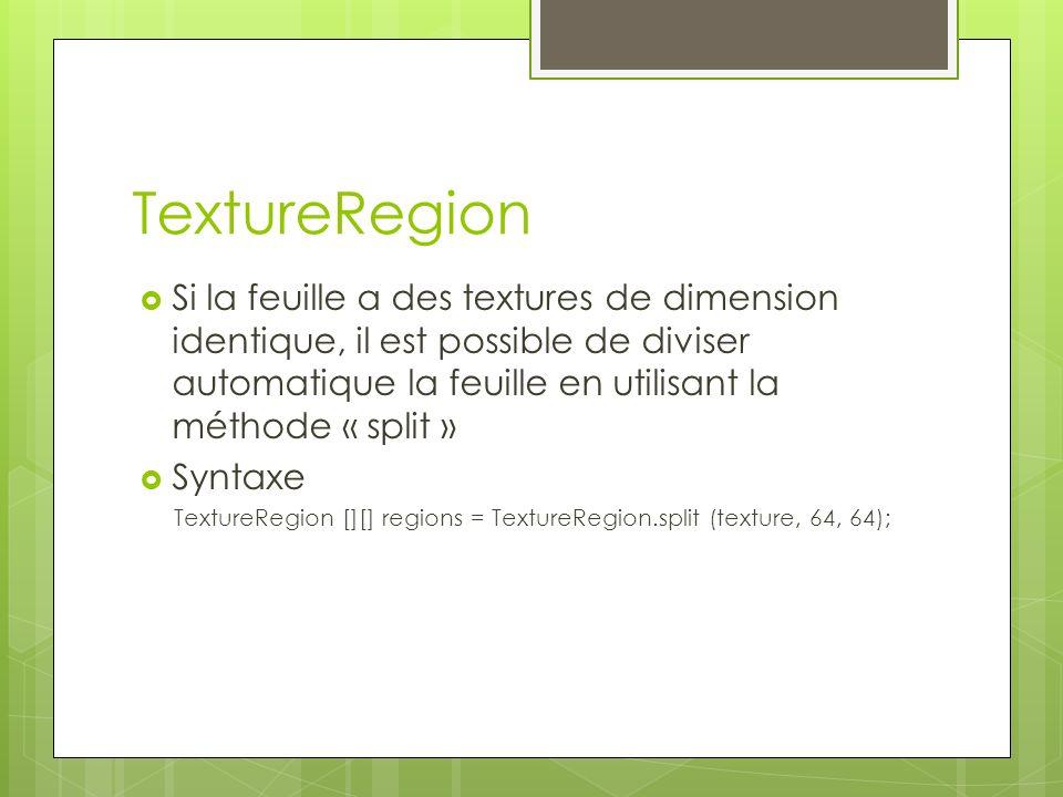 TextureRegion Si la feuille a des textures de dimension identique, il est possible de diviser automatique la feuille en utilisant la méthode « split » Syntaxe TextureRegion [][] regions = TextureRegion.split (texture, 64, 64);