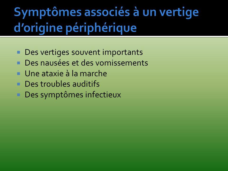Des vertiges souvent importants Des nausées et des vomissements Une ataxie à la marche Des troubles auditifs Des symptômes infectieux