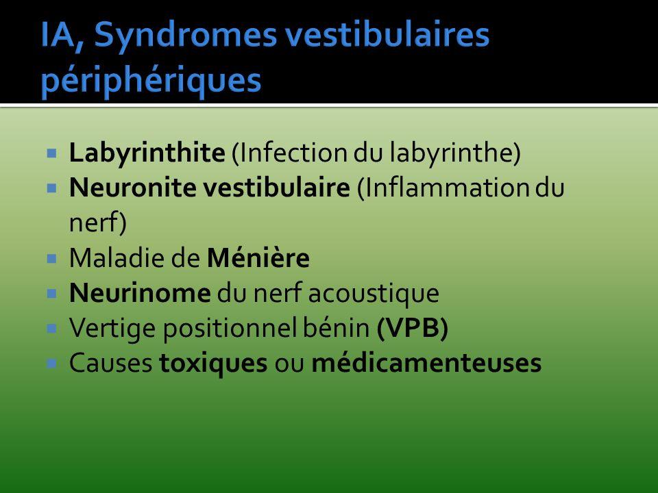 Labyrinthite (Infection du labyrinthe) Neuronite vestibulaire (Inflammation du nerf) Maladie de Ménière Neurinome du nerf acoustique Vertige positionn