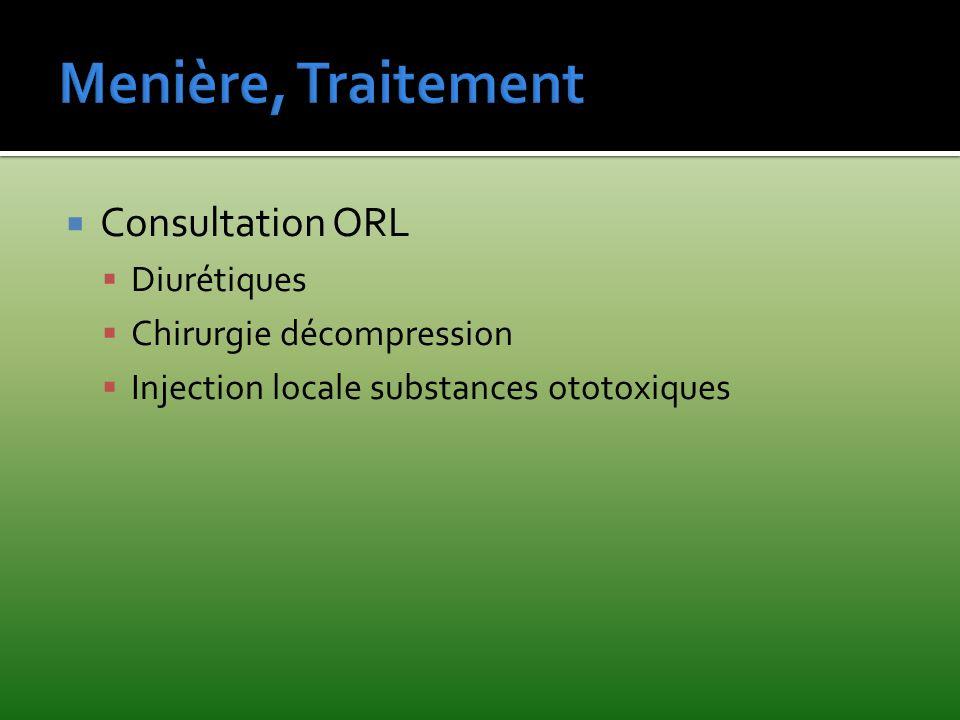 Consultation ORL Diurétiques Chirurgie décompression Injection locale substances ototoxiques