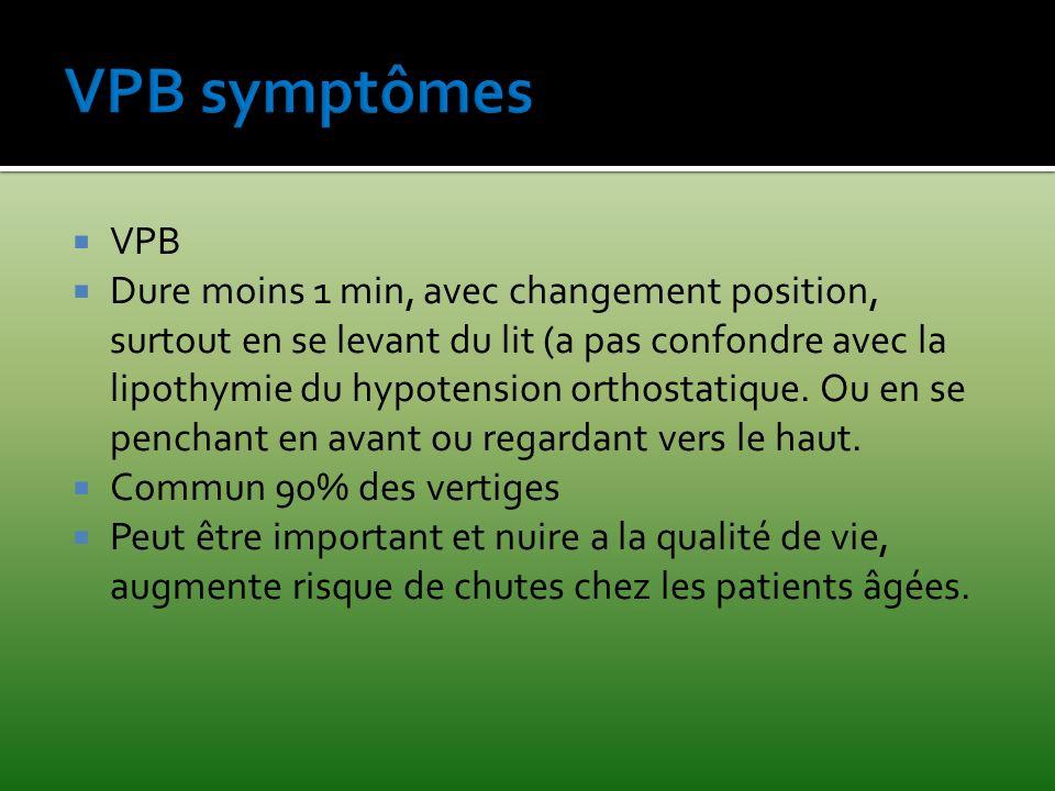 VPB Dure moins 1 min, avec changement position, surtout en se levant du lit (a pas confondre avec la lipothymie du hypotension orthostatique. Ou en se