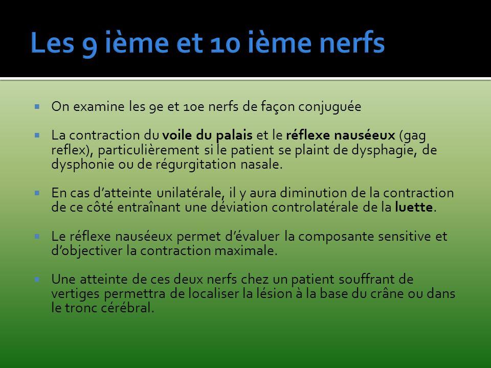 On examine les 9e et 10e nerfs de façon conjuguée La contraction du voile du palais et le réflexe nauséeux (gag reflex), particulièrement si le patien