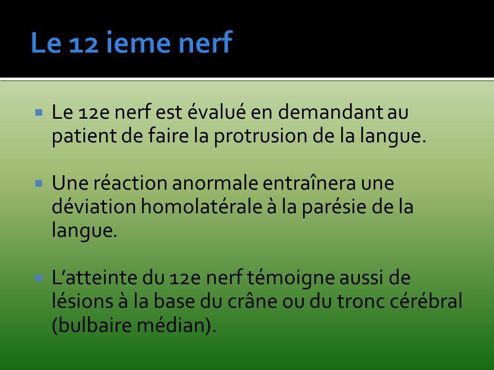 Le 12e nerf est évalué en demandant au patient de faire la protrusion de la langue. Une réaction anormale entraînera une déviation homolatérale à la p