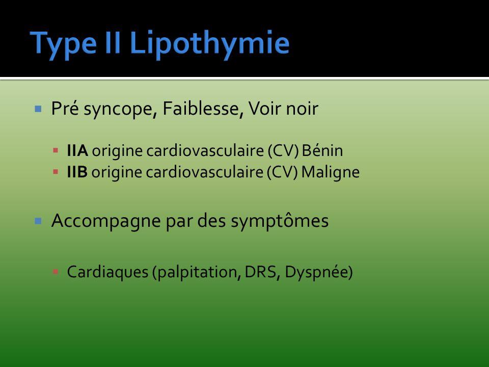Pré syncope, Faiblesse, Voir noir IIA origine cardiovasculaire (CV) Bénin IIB origine cardiovasculaire (CV) Maligne Accompagne par des symptômes Cardi