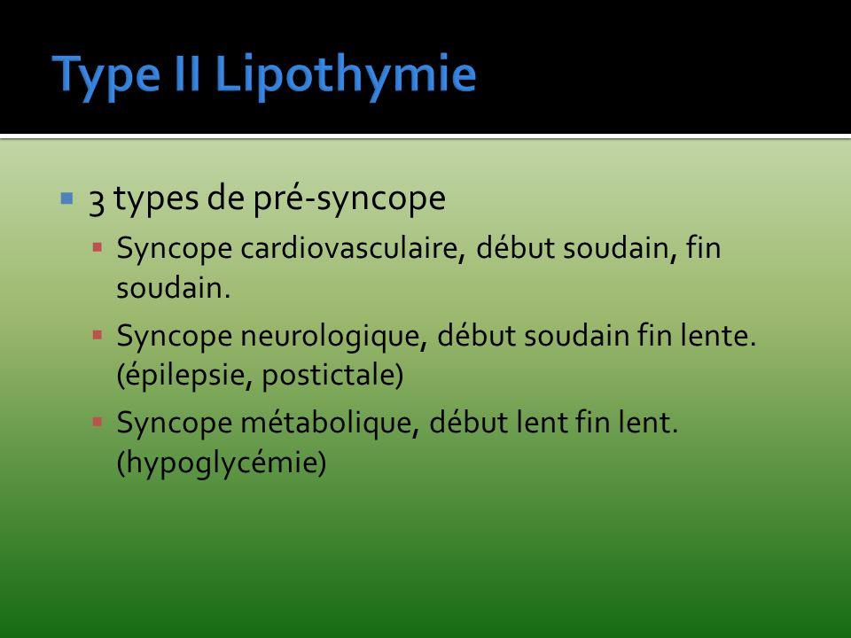 3 types de pré-syncope Syncope cardiovasculaire, début soudain, fin soudain. Syncope neurologique, début soudain fin lente. (épilepsie, postictale) Sy