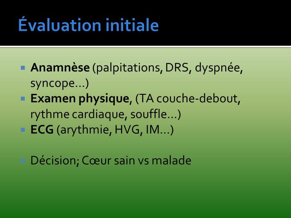 Anamnèse (palpitations, DRS, dyspnée, syncope…) Examen physique, (TA couche-debout, rythme cardiaque, souffle…) ECG (arythmie, HVG, IM…) Décision; Cœu