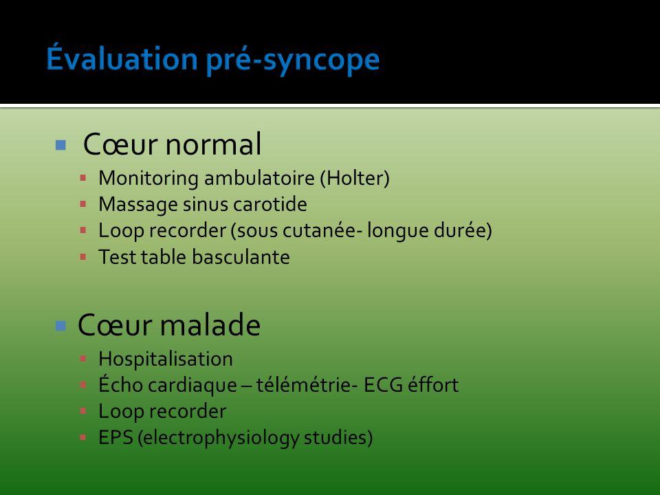 Cœur normal Monitoring ambulatoire (Holter) Massage sinus carotide Loop recorder (sous cutanée- longue durée) Test table basculante Cœur malade Hospit