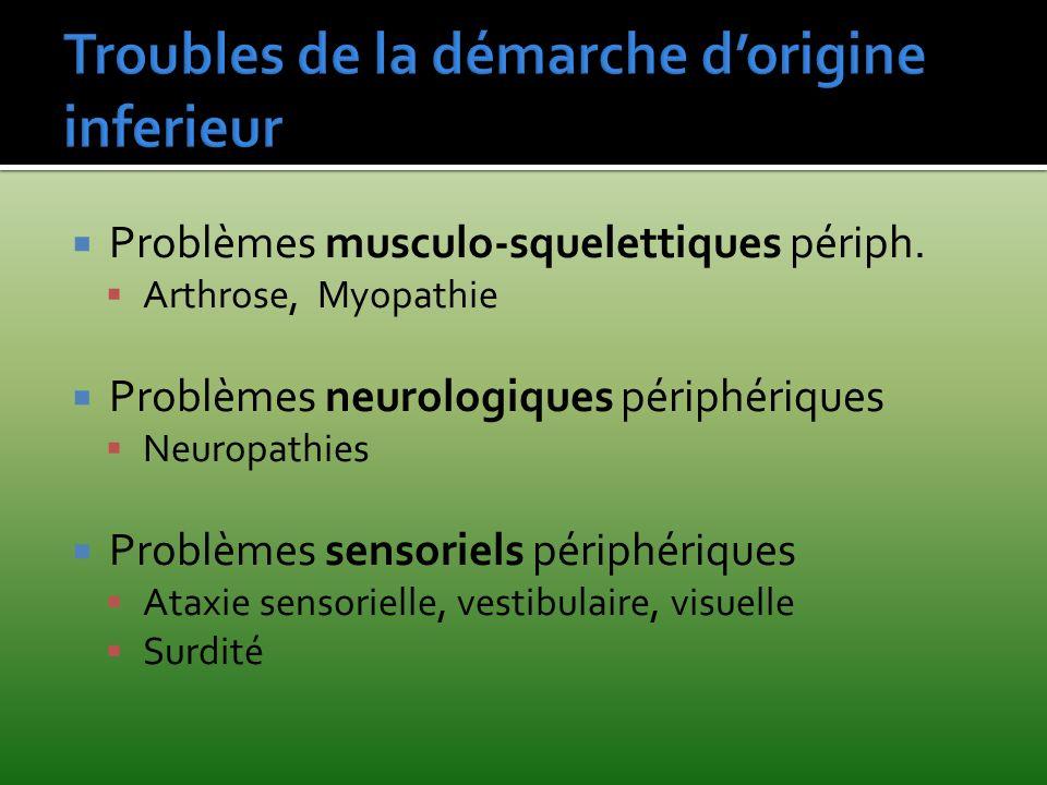 Problèmes musculo-squelettiques périph. Arthrose, Myopathie Problèmes neurologiques périphériques Neuropathies Problèmes sensoriels périphériques Atax
