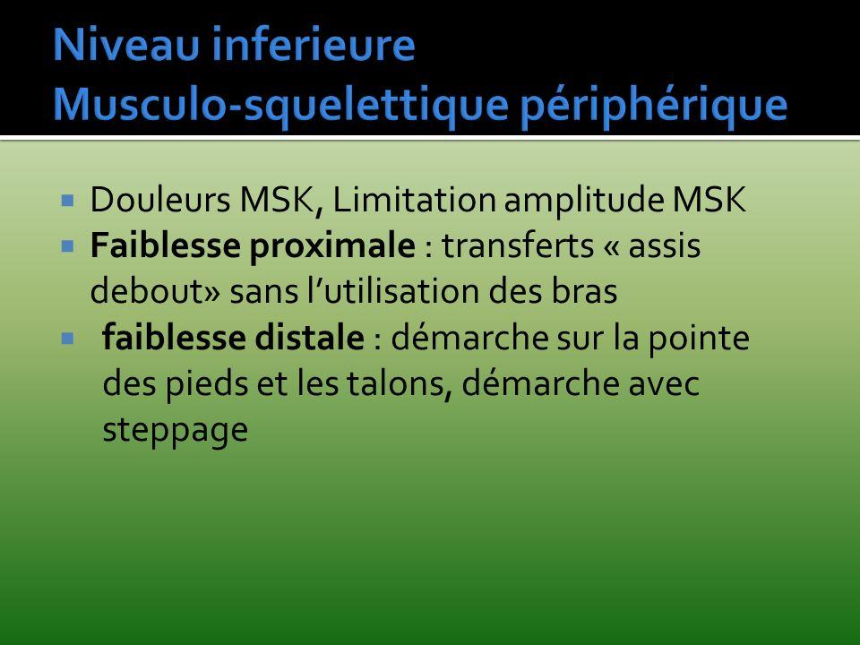 Douleurs MSK, Limitation amplitude MSK Faiblesse proximale : transferts « assis debout» sans lutilisation des bras faiblesse distale : démarche sur la