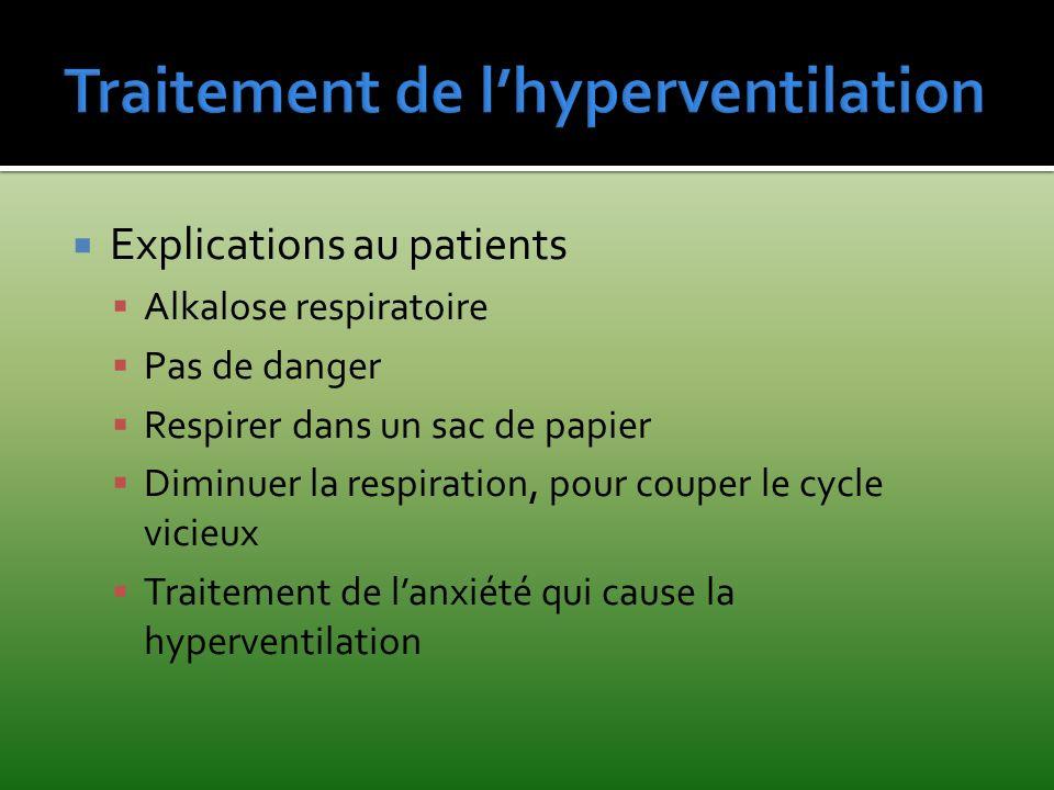 Explications au patients Alkalose respiratoire Pas de danger Respirer dans un sac de papier Diminuer la respiration, pour couper le cycle vicieux Trai