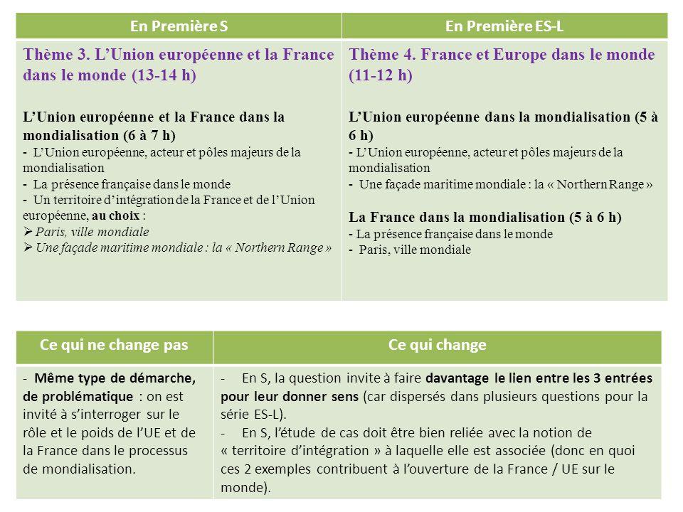 En Première SEn Première ES-L Thème 3. LUnion européenne et la France dans le monde (13-14 h) LUnion européenne et la France dans la mondialisation (6