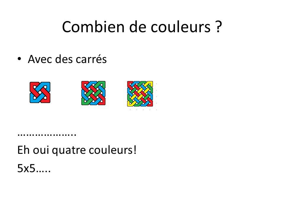 Combien de couleurs ? Avec des carrés Bravo! Nous admettrons : pour un carré nxn, n couleurs