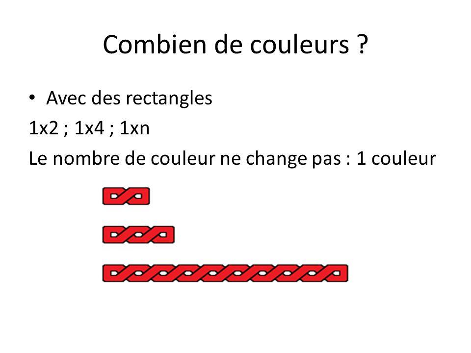 Combien de couleurs ? Avec des rectangles Considérons maintenant les rectangles : 2x3 ; 2x4 …