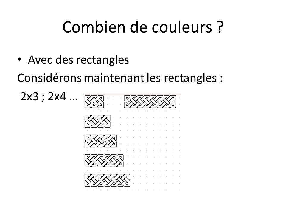 Combien de couleurs ? Quelle conjecture ?….. 2x3 Une couleur
