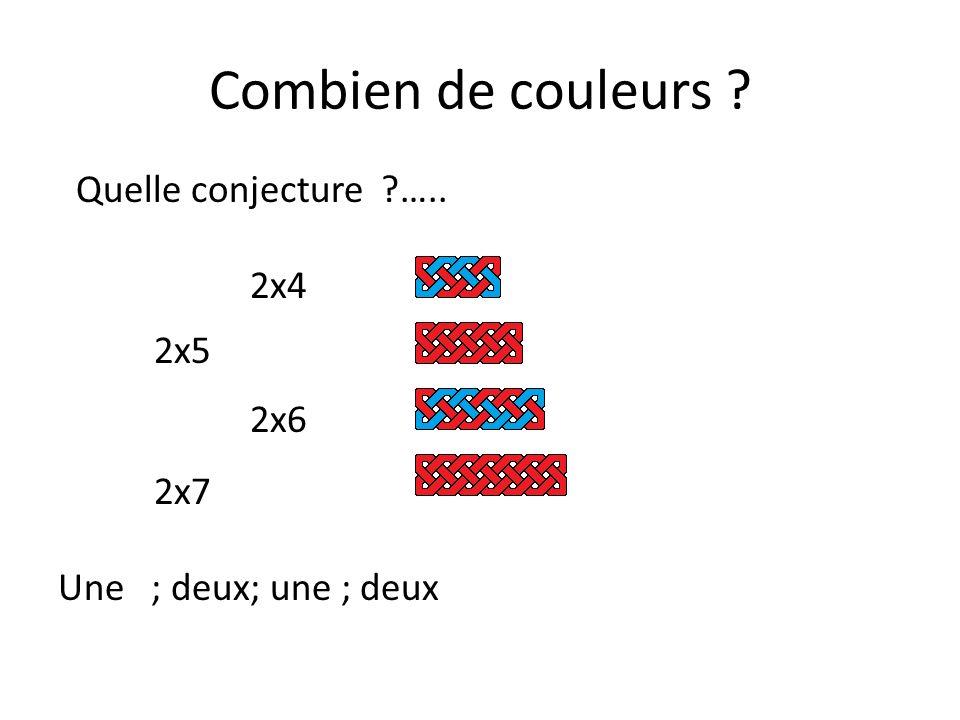 Combien de couleurs ? Quelle conjecture ?…..avec 3x4; 3x5…