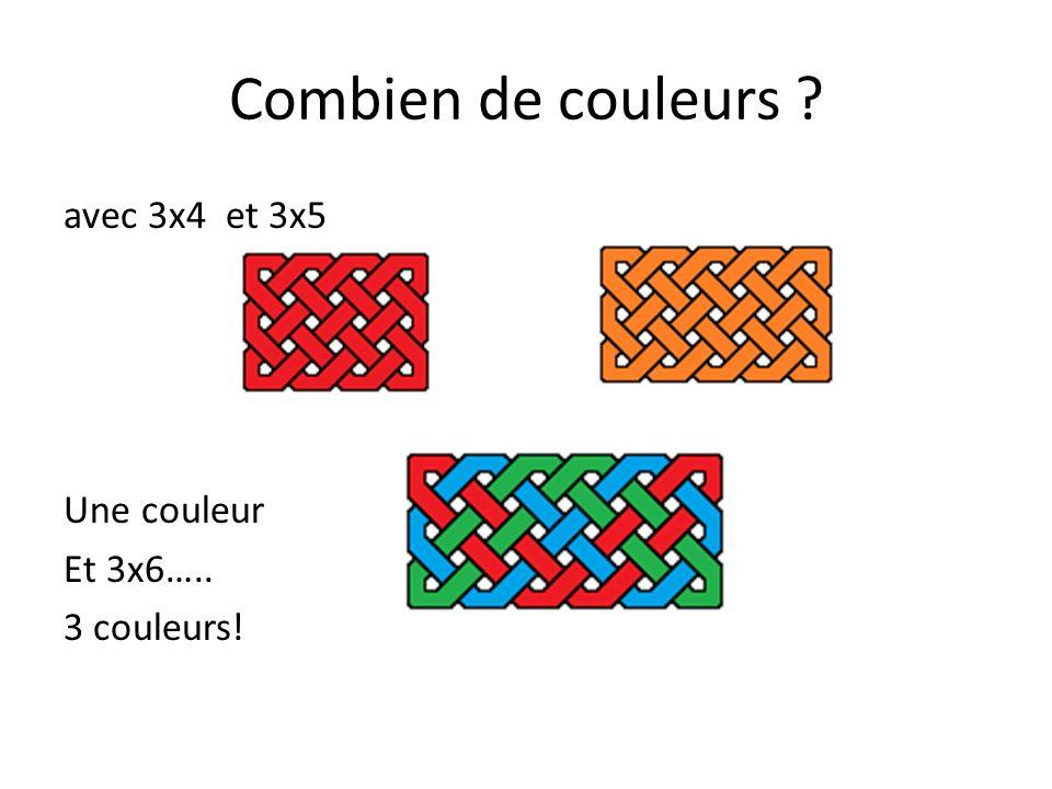 Combien de couleurs ? avec 3x4 et 3x5 Une couleur Et 3x6….. 3 couleurs! On continue….
