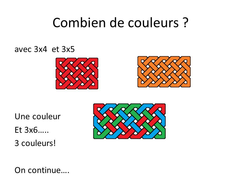 Combien de couleurs ? avec 3x7 et 3x8 Une couleur Et 3x9….. 3 couleurs!