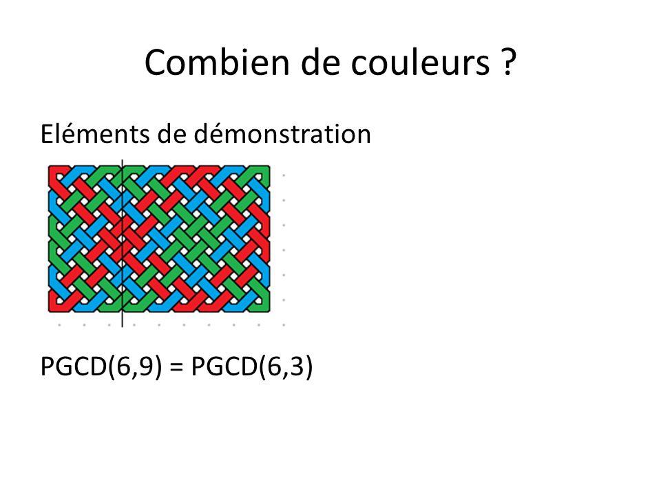 Combien de couleurs ? Eléments de démonstration PGCD(6,9) = PGCD(6,3) = PGCD(3,3)=3