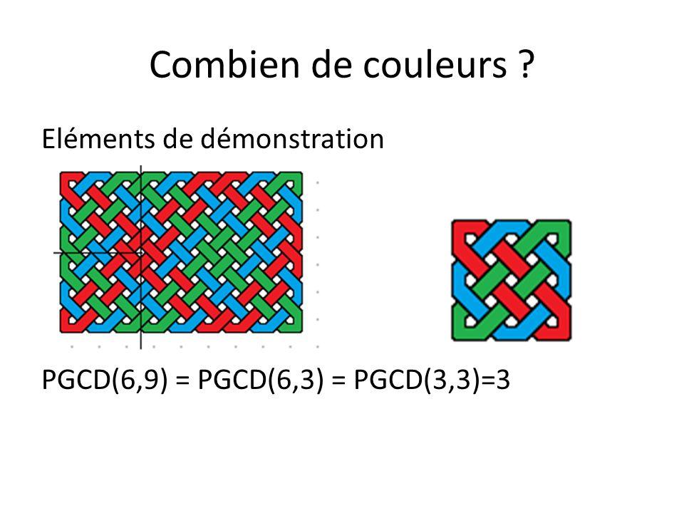 Combien de couleurs ? Eléments de démonstration PGCD(15,10) = PGCD(5,10) = PGCD(5,5)=5