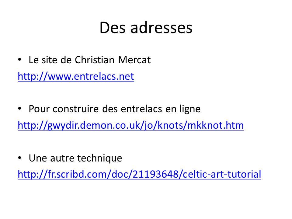 Des adresses Le site de Christian Mercat http://www.entrelacs.net Pour construire des entrelacs en ligne http://gwydir.demon.co.uk/jo/knots/mkknot.htm