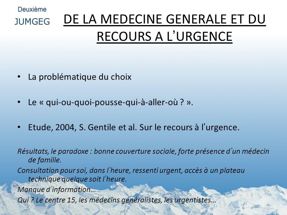 DE LA MEDECINE GENERALE ET DU RECOURS A LURGENCE La problématique du choix Le « qui-ou-quoi-pousse-qui-à-aller-où ? ». Etude, 2004, S. Gentile et al.