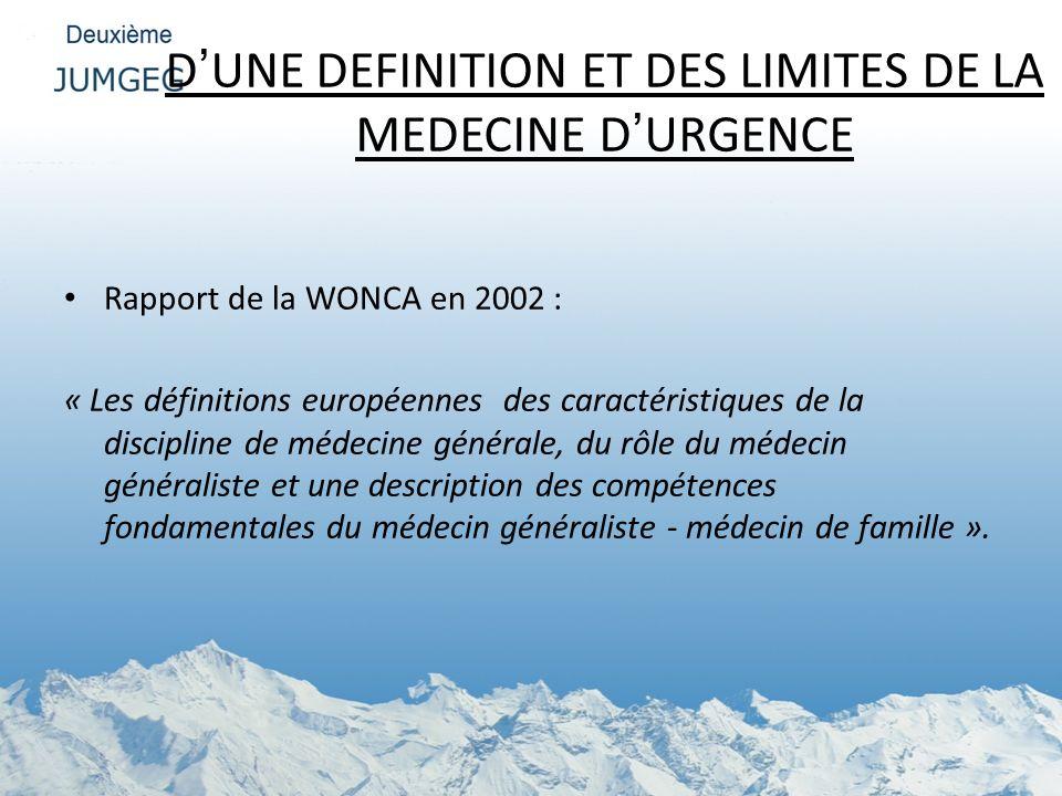 DUNE DEFINITION ET DES LIMITES DE LA MEDECINE DURGENCE Rapport de la WONCA en 2002 : « Les définitions européennes des caractéristiques de la discipli
