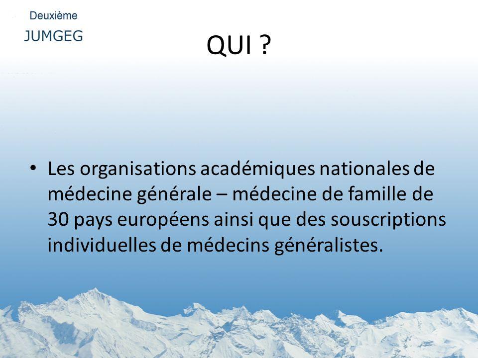 QUI ? Les organisations académiques nationales de médecine générale – médecine de famille de 30 pays européens ainsi que des souscriptions individuell