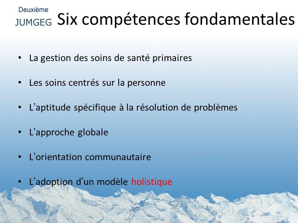 Six compétences fondamentales La gestion des soins de santé primaires Les soins centrés sur la personne Laptitude spécifique à la résolution de problè