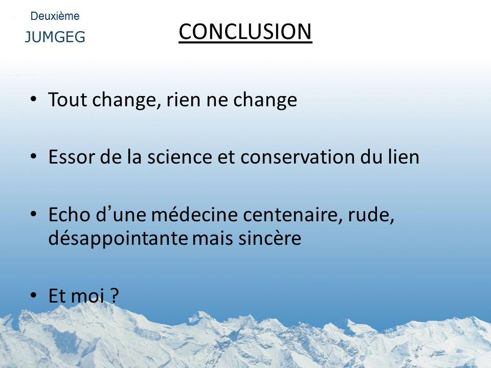 CONCLUSION Tout change, rien ne change Essor de la science et conservation du lien Echo dune médecine centenaire, rude, désappointante mais sincère Et