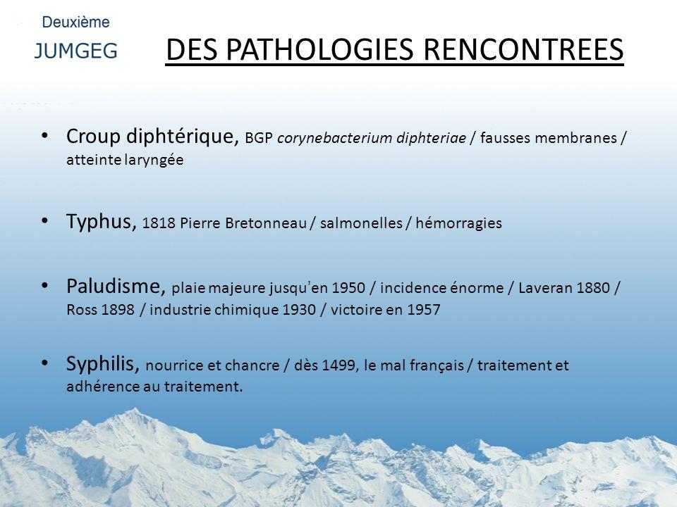 DES PATHOLOGIES RENCONTREES Croup diphtérique, BGP corynebacterium diphteriae / fausses membranes / atteinte laryngée Typhus, 1818 Pierre Bretonneau /