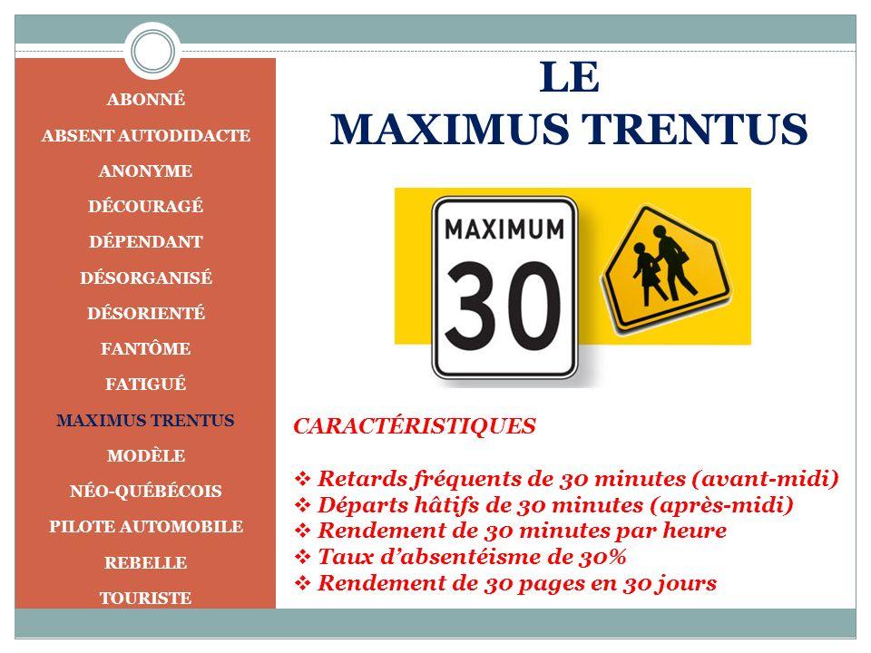 LE MAXIMUS TRENTUS CARACTÉRISTIQUES Retards fréquents de 30 minutes (avant-midi) Départs hâtifs de 30 minutes (après-midi) Rendement de 30 minutes par