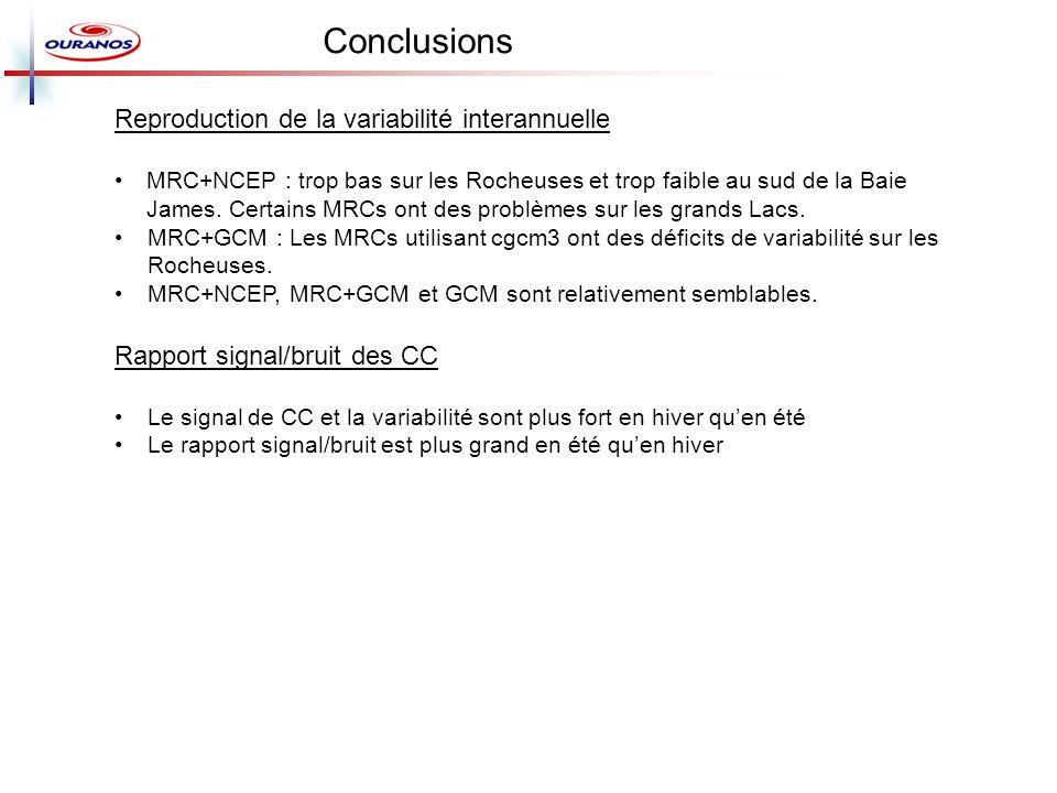 Reproduction de la variabilité interannuelle MRC+NCEP : trop bas sur les Rocheuses et trop faible au sud de la Baie James. Certains MRCs ont des probl