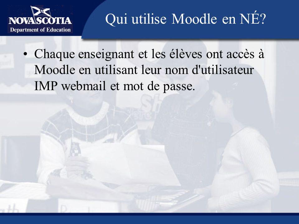 Chaque enseignant et les élèves ont accès à Moodle en utilisant leur nom d'utilisateur IMP webmail et mot de passe. Qui utilise Moodle en NÉ?