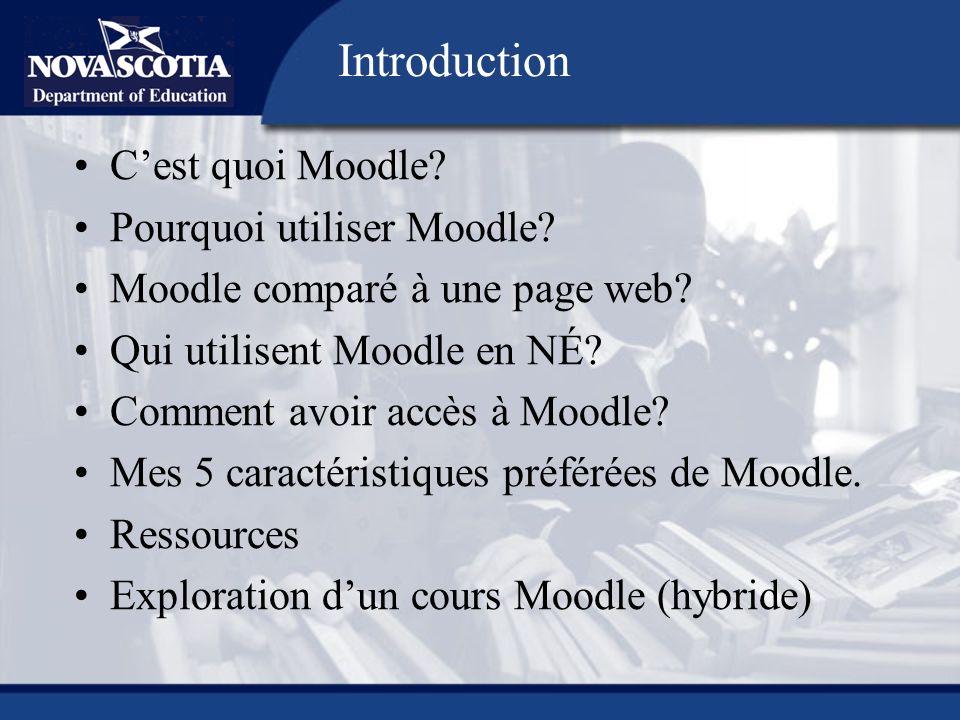 Cest quoi Moodle? Pourquoi utiliser Moodle? Moodle comparé à une page web? Qui utilisent Moodle en NÉ? Comment avoir accès à Moodle? Mes 5 caractérist