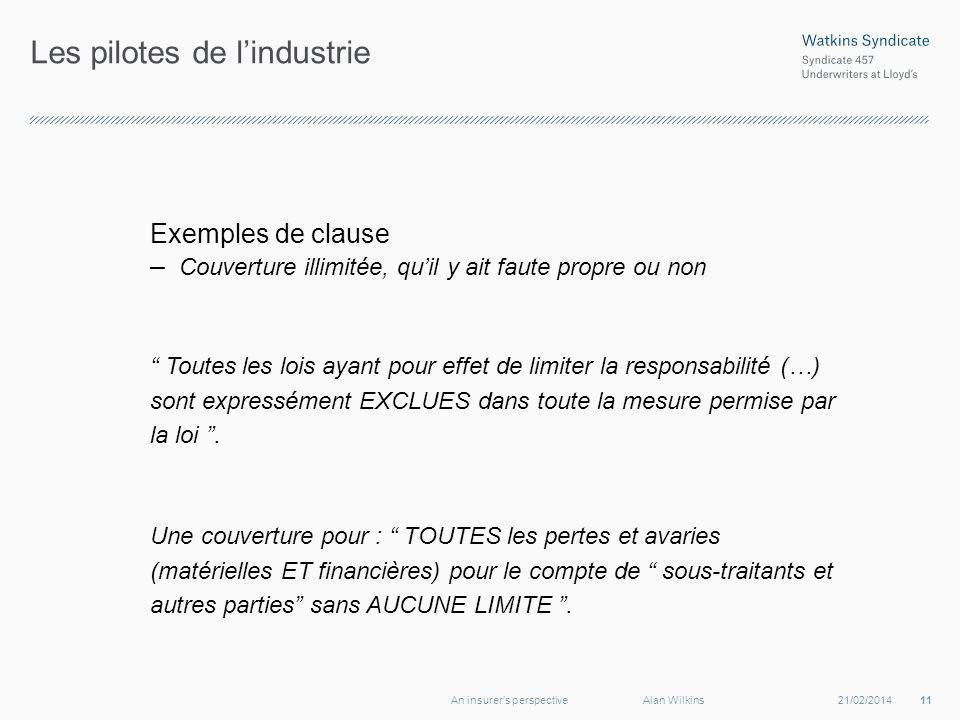 Les pilotes de lindustrie Exemples de clause – Couverture illimitée, quil y ait faute propre ou non Toutes les lois ayant pour effet de limiter la res