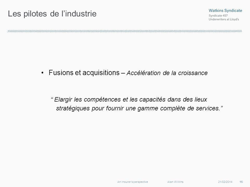 Les pilotes de lindustrie Fusions et acquisitions – Accélération de la croissance Elargir les compétences et les capacités dans des lieux stratégiques