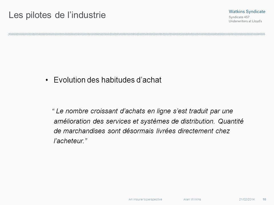 Les pilotes de lindustrie Evolution des habitudes dachat Le nombre croissant dachats en ligne sest traduit par une amélioration des services et systèmes de distribution.