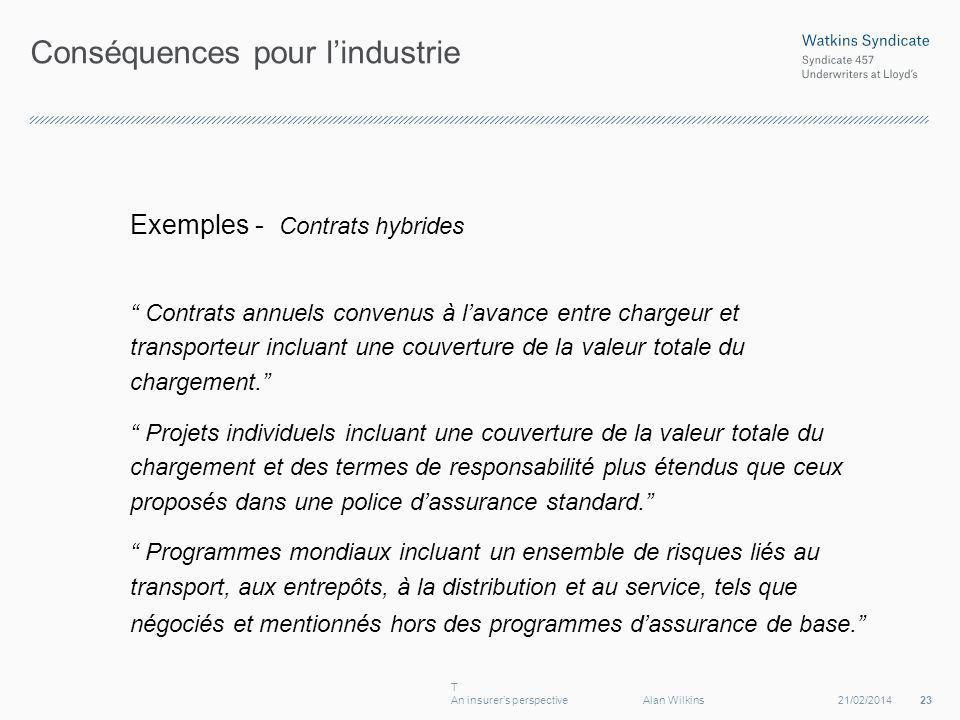 Conséquences pour lindustrie Exemples - Contrats hybrides Contrats annuels convenus à lavance entre chargeur et transporteur incluant une couverture de la valeur totale du chargement.