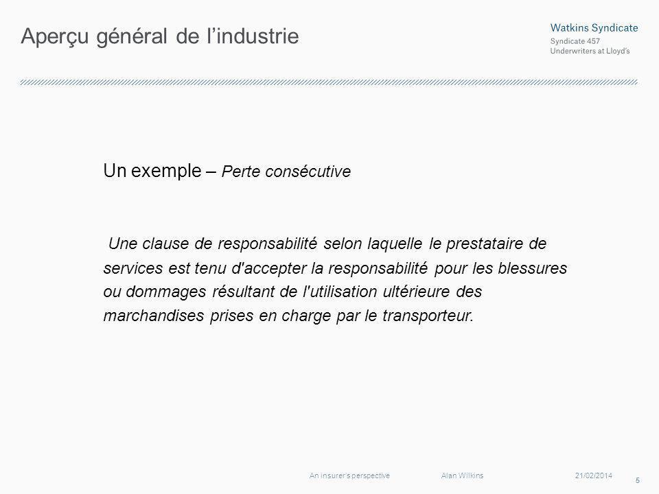 Aperçu général de lindustrie Un exemple – Perte consécutive Une clause de responsabilité selon laquelle le prestataire de services est tenu d'accepter