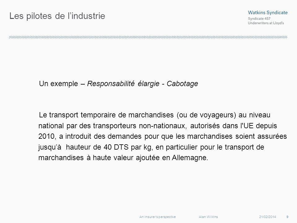 Les pilotes de lindustrie Un exemple – Responsabilité élargie - Cabotage Le transport temporaire de marchandises (ou de voyageurs) au niveau national